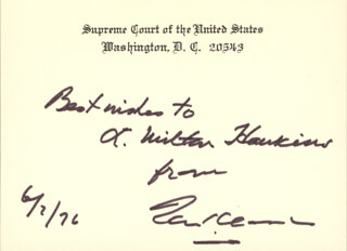 Autographs: ASSOCIATE JUSTICE TOM C. CLARK - AUTOGRAPH NOTE ON SUPREME COURT CARD SIGNED 06/07/1976