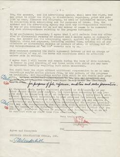 RUDY VALLEE - CONTRACT SIGNED 11/21/1949 CO-SIGNED BY: C. W. UNDERHILL