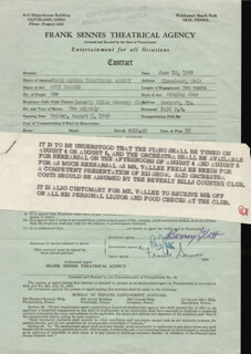 RUDY VALLEE - CONTRACT SIGNED 06/10/1949 CO-SIGNED BY: FRANK SENNES, BARNEY GLATT