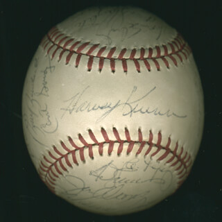 Autographs: LOU BOUDREAU - BASEBALL SIGNED CO-SIGNED BY: HARVEY KUENN, JOE TORRE, OZZIE THE WIZARD OF OZ SMITH, LOU SWEET LOU WHITAKER, LEON BULL DURHAM, RICK HONEYCUTT, GARY WARD, BRUCE BENEDICT, BILLY GARDNER, LEE SMITH, JESSE OROSCO, MARIO SOTO, BOB BIGFOOT STANLEY, RON KITTLE, CURT GOUDY, ENOS SLAUGHTER, AL LOPEZ