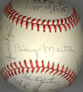 THE NEW YORK YANKEES - AUTOGRAPHED SIGNED BASEBALL CIRCA 1985 CO-SIGNED BY: DON MATTINGLY, DON GROOVE BAYLOR, BRIAN FISHER, ANDRE ROBERTSON, BUTCH (HAROLD DELANO) WYNEGAR, RON BABE HASSEY, WILLIE RANDOLPH, MIKE PAGS PAGLIARULO, DAVID RAGS RIGHETTI, ED (EDDIE LEE) WHITSON, BILLY SAMPLE, JOE COWLEY, SCOTT BRADLEY, RICH BORDI, PHIL KNUCKSIE NIEKRO, MIKE ARMSTRONG, BOBBY MEACHAM, RON LOUISIANA LIGHTNING GUIDRY, WILLIE HORTON, JEFF TORBORG, BILLY MARTIN