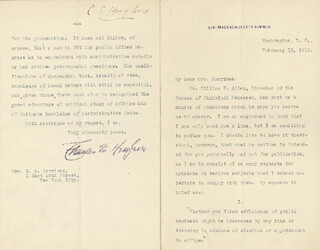 CHIEF JUSTICE CHARLES E HUGHES - TYPED LETTER SIGNED 02/13/1911