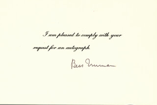 Autographs: FIRST LADY BESS W. TRUMAN - PRINTED CARD SIGNED IN INK