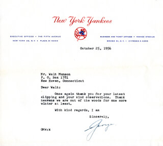 GEORGE M. WEISS - TYPED LETTER SIGNED 10/25/1956