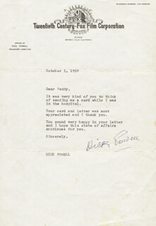 DICK POWELL - TYPED LETTER SIGNED 10/01/1959