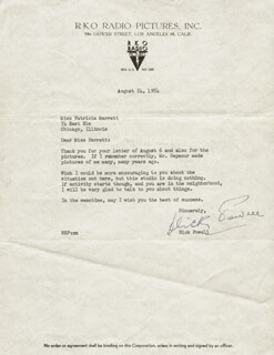 DICK POWELL - TYPED LETTER SIGNED 08/24/1954