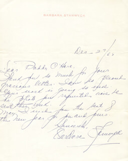 BARBARA STANWYCK - AUTOGRAPH LETTER SIGNED 12/27/1963