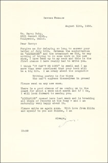 IRVING BERLIN - TYPED LETTER SIGNED 08/11/1938