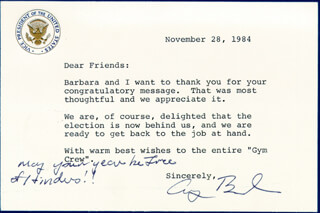 PRESIDENT GEORGE H.W. BUSH - TYPED LETTER SIGNED 11/28/1984