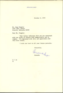 GROUCHO (JULIUS) MARX - TYPED LETTER SIGNED 10/08/1970  - HFSID 100608