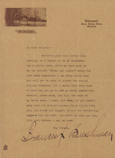 FRANCIS X. BUSHMAN - TYPED LETTER SIGNED 08/29/1916