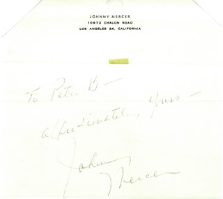 JOHNNY MERCER - AUTOGRAPH NOTE SIGNED 06/14/1962