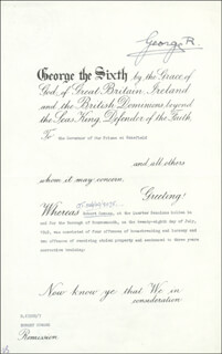 KING GEORGE VI (GREAT BRITAIN) - PARDON SIGNED 10/10/1950  - HFSID 100617