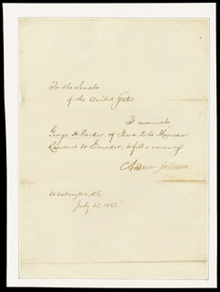 PRESIDENT ANDREW JOHNSON - MANUSCRIPT DOCUMENT SIGNED 07/25/1868
