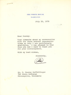 PRESIDENT RICHARD M. NIXON - TYPED LETTER SIGNED 07/22/1970
