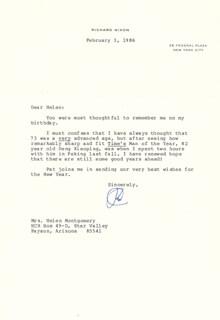 PRESIDENT RICHARD M. NIXON - TYPED LETTER SIGNED 02/03/1986