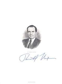 PRESIDENT RICHARD M. NIXON - ENGRAVING SIGNED