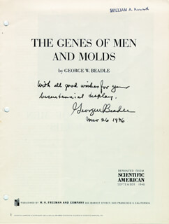 Autographs: GEORGE W. BEADLE - PAMPHLET SIGNED 03/26/1976