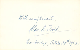 Autographs: LORD ALEXANDER R. TODD - AUTOGRAPH SENTIMENT SIGNED 10/30/1958