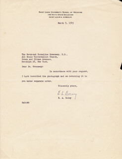 Autographs: EDWARD A. DOISY - TYPED LETTER SIGNED 03/09/1945