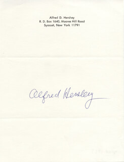 Autographs: ALFRED D. HERSHEY - SIGNATURE(S)