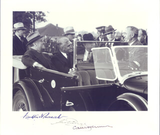 PRESIDENT FRANKLIN D. ROOSEVELT - AUTOGRAPHED SIGNED PHOTOGRAPH CO-SIGNED BY: GOVERNOR GEORGE C. PEERY, CLIFFORD A. WOODRUM
