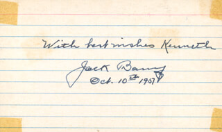 Autographs: JOHN J. JACK BARRY - AUTOGRAPH NOTE SIGNED 10/10/1957