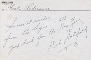 DICK WAKEFIELD - AUTOGRAPH NOTE SIGNED