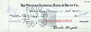 ORVILLE WRIGHT - AUTOGRAPHED SIGNED CHECK 11/05/1934