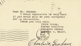 CHARLES H. GRAHAM - POST CARD SIGNED 12/26/1945