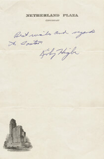 KIRBY HIGBE - AUTOGRAPH NOTE SIGNED