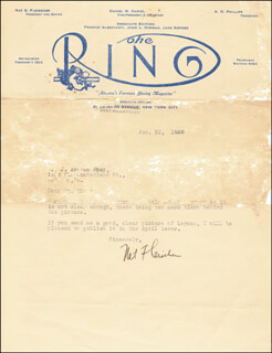 NAT FLEISCHER - TYPED LETTER SIGNED 01/31/1928