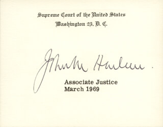 Autographs: ASSOCIATE JUSTICE JOHN M. HARLAN JR. - SUPREME COURT CARD SIGNED 3/1969