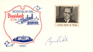 ASSOCIATE JUSTICE BYRON R. WHITE - COMMEMORATIVE ENVELOPE SIGNED