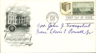 ASSOCIATE JUSTICE LEWIS F. POWELL JR. - INSCRIBED FIRST DAY COVER SIGNED 06/12/1950