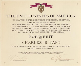PRESIDENT HARRY S TRUMAN - DOCUMENT SIGNED 07/18/1946 CO-SIGNED BY: J. N. CLAYTON