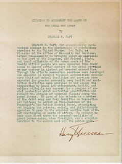 PRESIDENT HARRY S TRUMAN - DOCUMENT SIGNED