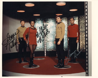 STAR TREK TV CAST - AUTOGRAPHED INSCRIBED PHOTOGRAPH CO-SIGNED BY: NICHELLE NICHOLS, JAMES DOOHAN, GEORGE TAKEI