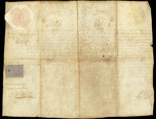QUEEN ANNE (ENGLAND) - MANUSCRIPT DOCUMENT SIGNED 03/01/1710 CO-SIGNED BY: HENRY ST. JOHN
