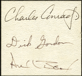 CAPTAIN CHARLES PETE CONRAD JR. - AUTOGRAPH CO-SIGNED BY: CAPTAIN ALAN L. BEAN, CAPTAIN RICHARD F. DICK GORDON JR.