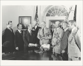 PRESIDENT GERALD R. FORD - AUTOGRAPHED SIGNED PHOTOGRAPH CIRCA 1974 CO-SIGNED BY: LT. GENERAL THOMAS P. STAFFORD, MAJOR DONALD DEKE SLAYTON, VANCE BRAND