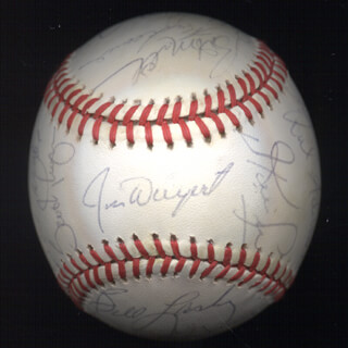 THE SAN FRANCISCO GIANTS - AUTOGRAPHED SIGNED BASEBALL CIRCA 1985 CO-SIGNED BY: ROB DEER, CHILI DAVIS, BILL LASKEY, DAVE GREEN, BOB BRENLY, SCOTT GARRELTS, JOSE (JOSE GONZALEZ) URIBE, FRANK L. WILLIAMS, JEFFREY HAC-MAN LEONARD, RICKY LEE ADAMS, VIDA BLUE, DAVE LAPOINT, DAN GLADDEN, DAN DRIESSEN, JIM PEANUT DAVENPORT, MANNY INDIO TRILLO, JOEL YOUNGBLOOD