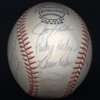 THE PITTSBURGH PIRATES - AUTOGRAPHED SIGNED BASEBALL CO-SIGNED BY: BRUCE KISON, BOB MOOSE, AL MR. SCOOP OLIVER, BOB ROBERTSON, RICHIE HEBNER, MANNY SANGUILLEN, MILT MAY, GENE ALLEY, JOHN LAMB, GENE CLINES, WILLIE STARGELL