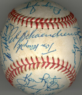 THE ST. LOUIS CARDINALS - AUTOGRAPHED SIGNED BASEBALL CO-SIGNED BY: BAKE McBRIDE, TERRY HUGHES, LUIS MELENDEZ, MICHAEL RAY ROCKY TYSON, TOM MURPHY, TOMMY CRUZ, KEN REITZ, JOHNNY LEWIS, GEORGE KISSELL, DIEGO SULGAR, EDDIE FISHER, LOU BROCK, ALAN FOSTER, AL THE MAD HUNGARIAN HRABOSKY, TIM McCARVER, JOSE CRUZ, TED SIZEMORE, RED SCHOENDIENST