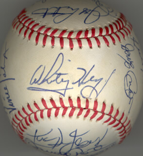THE ST. LOUIS CARDINALS - AUTOGRAPHED SIGNED BASEBALL CIRCA 1985 CO-SIGNED BY: OZZIE THE WIZARD OF OZ SMITH, JOHN TUDOR, TOM LAWLESS, DARRELL PORTER, DANNY COXIE COX, TOM NIETO, TERRY PENDLETON, BRIAN HARPER, VINCE COLEMAN, JACK THE RIPPER CLARK, KEN DAYLEY, JOAQUIN ANDUJAR, IVAN DEJESUS, WILLIE MCGEE, JEFFREY ALLEN LAHTI, KURT DAVID KEPSHIRE, BOB FORSCH, WHITEY HERZOG, MIKE JORGENSEN