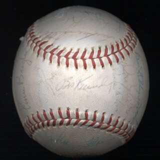 THE CHICAGO CUBS - AUTOGRAPHED SIGNED BASEBALL CO-SIGNED BY: BILLY WILLIAMS, ERNIE BROGLIO, STERLING SLAUGHTER, RON CAMPBELL, RON SANTO, ERNIE MR. CUB BANKS, HOBIE LANDRITH, LINDY McDANIEL, ELLIS BURTON, LEO PATRICK BURKE, LARRY HOT POTATO JACKSON, LEN GABRIELSON, BOB KENNEDY, BILLY COWAN, DICK ELLSWORTH