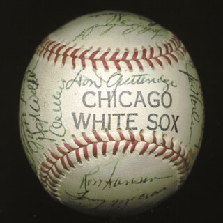 THE CHICAGO WHITE SOX - AUTOGRAPHED SIGNED BASEBALL CIRCA 1964 CO-SIGNED BY: TONY CHICK CUCCINELLO, JERRY McNERTNEY, FLOYD ROBINSON, BILL MOOSE SKOWRON, TOM McCRAW, DAVE NICHOLSON, AL WEIS, RAY HERBERT, JIM LANDIS, JOHN BUZHARDT, GARY PETERS, JOE HORLEN, BOB DERNIER, DON BUFORD, ROCKY COLAVITO, EDDIE FISHER, MIKE HERSHBERGER, HOYT (JAMES) WILHELM, FRANK THE BEAU BAUMANN, J. C. MARTIN, RON HANSEN, JUAN PIZARRO, PETE WARD, FRED TALBOT, AL LOPEZ