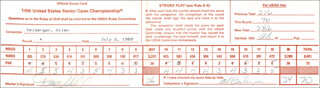 AL GEIBERGER - SCORECARD SIGNED 07/02/1989 CO-SIGNED BY: DAVE HILL