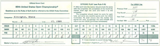STEVE ELKINGTON - SCORECARD SIGNED 06/17/1989