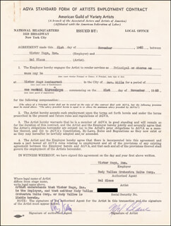 MEL BLANC - CONTRACT SIGNED 11/21/1940 CO-SIGNED BY: RUDY VALLEE
